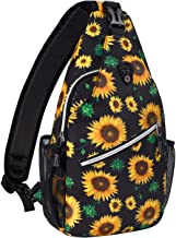 MOSISO Sling Backpack,Travel Hiking Daypack Pattern Rope Crossbody Shoulder Bag, Black Base Sunflower