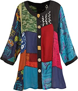 0d55b11cc5 Women s Open Front Tunic Top - Novelty Button Patchwork Fashion Jacket
