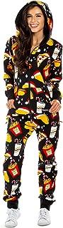 Tipsy Elves Women's Black Festive Fast Food Adult Jumpsuit - Christmas Onesie Pajamas