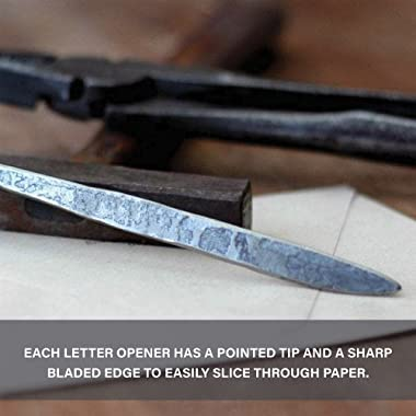 Letter Opener Cast Iron Knife | Luxury, Rustic & Antique Style Desk Accessory for Cutting Open Paper Envelopes & Pack