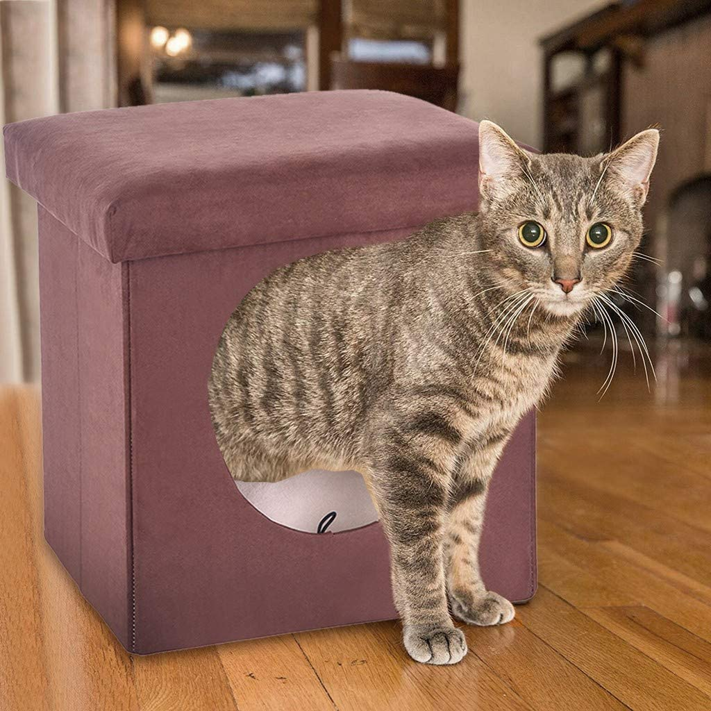 Ywindl Cat Cube Condo Ottoman 5 ☆ very Super-cheap popular Pet with Large Houses Bed