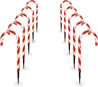 Best Choice Products 15in Indoor/Outdoor Christmas Candy Cane Pathway Marker Lights Set of 10 Holiday Decoration, 25ft Total Length