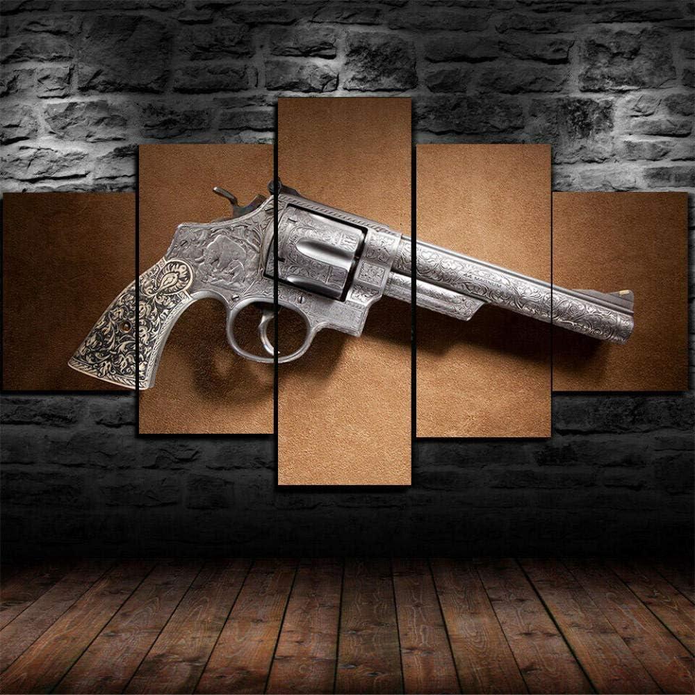 AWER Tejido no Tejido Impresión 44 Pistola de revólver Magnum Canvas Wall Art,Decoracion de Pared,5 Piezas Lienzos Cuadros Pinturas,Cuadro sobre Lienzo,Listo para Colgar,en un Marco