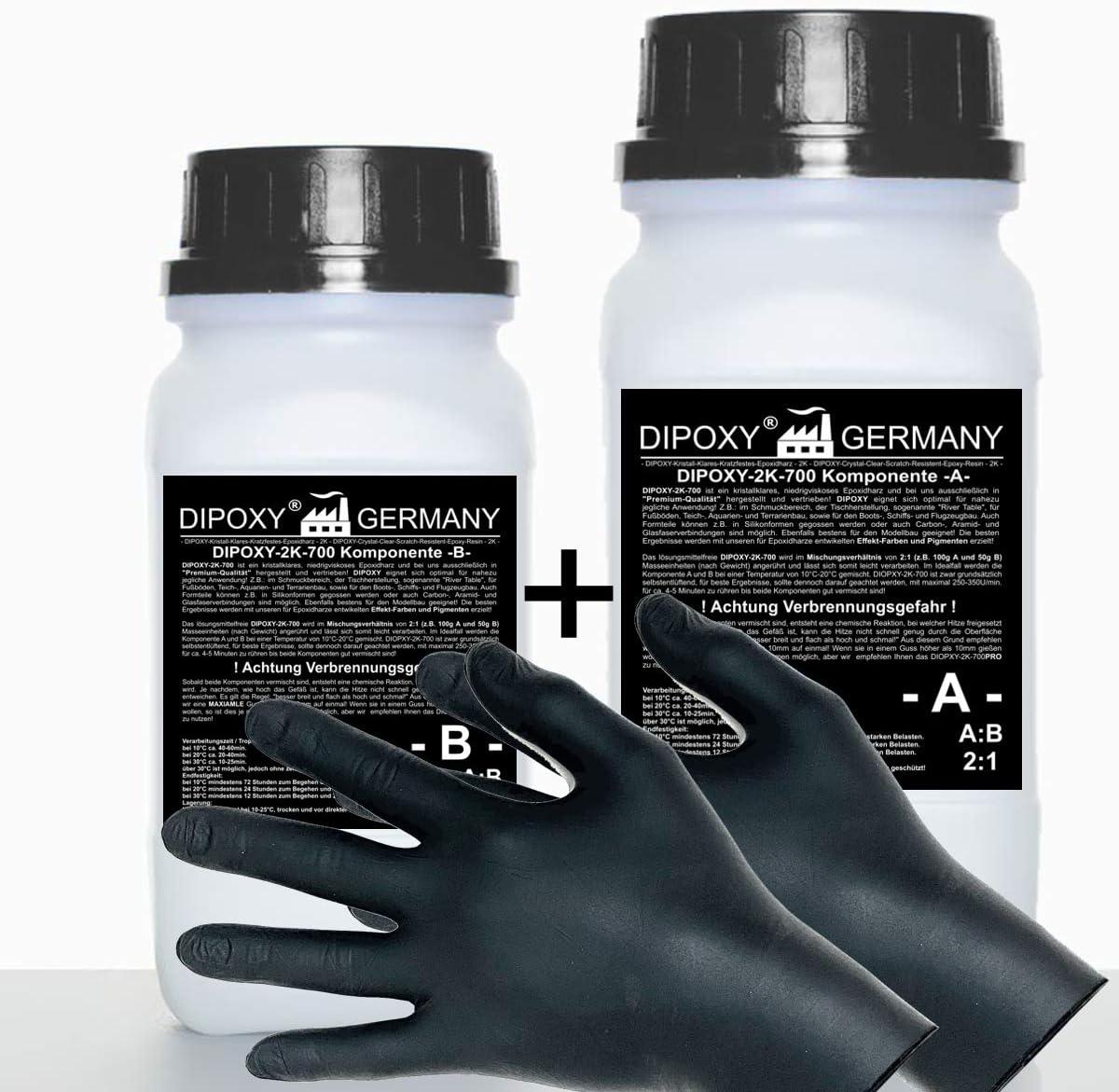 1,5 kg Resina epoxi 2C + guantes, dos componentes Madera Cristal Transparente para laminar Resina de epoxy para mesa suelo Terra Acuario Formas Diseño UV Estable adhesivo