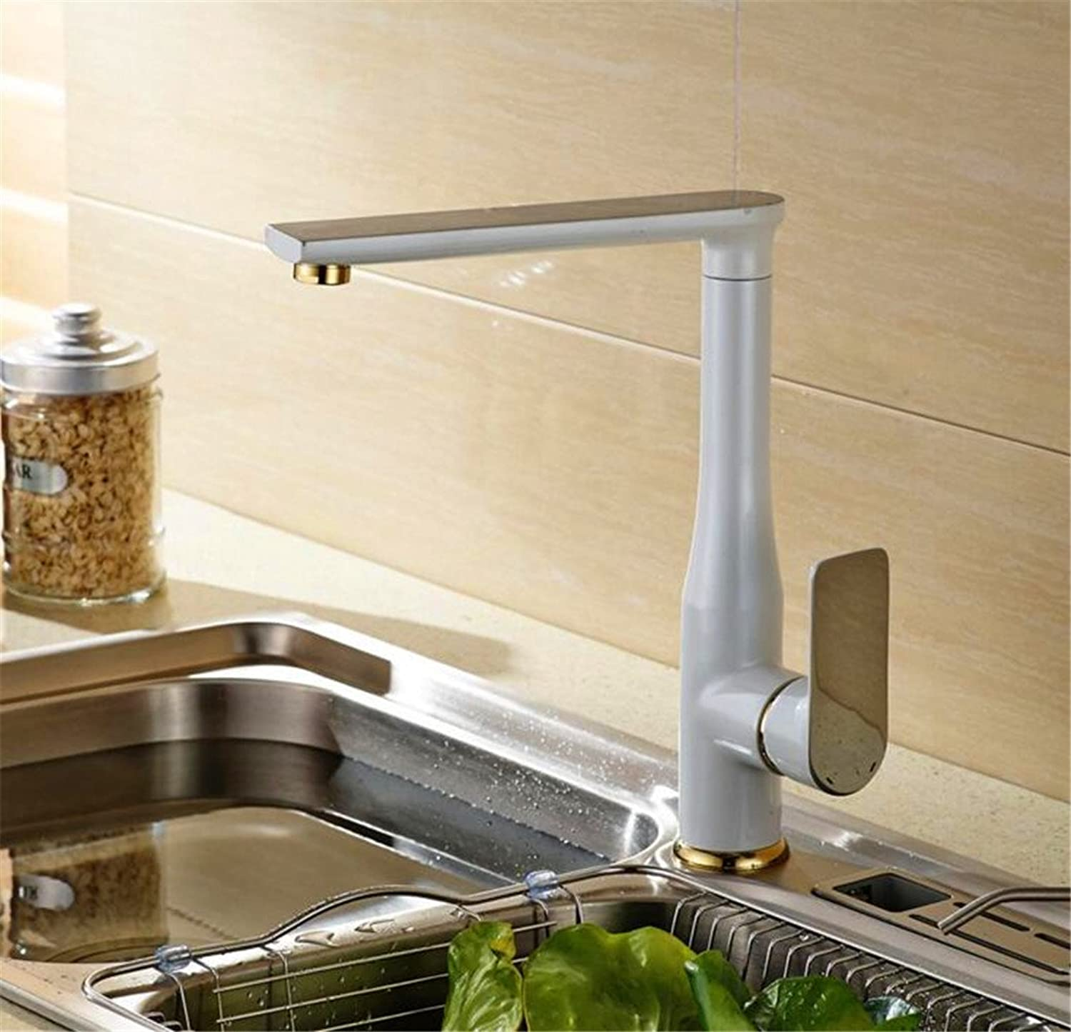 JMQXL High - end luxury faucet European - style hot and cold mixed kitchen faucet black and white paint taps copper ( color   B )