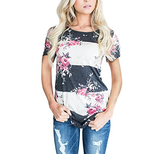 958f811fd08c3e CEASIKERY Women's Blouse 3/4 Sleeve Floral Print T-Shirt Comfy Casual Tops  for