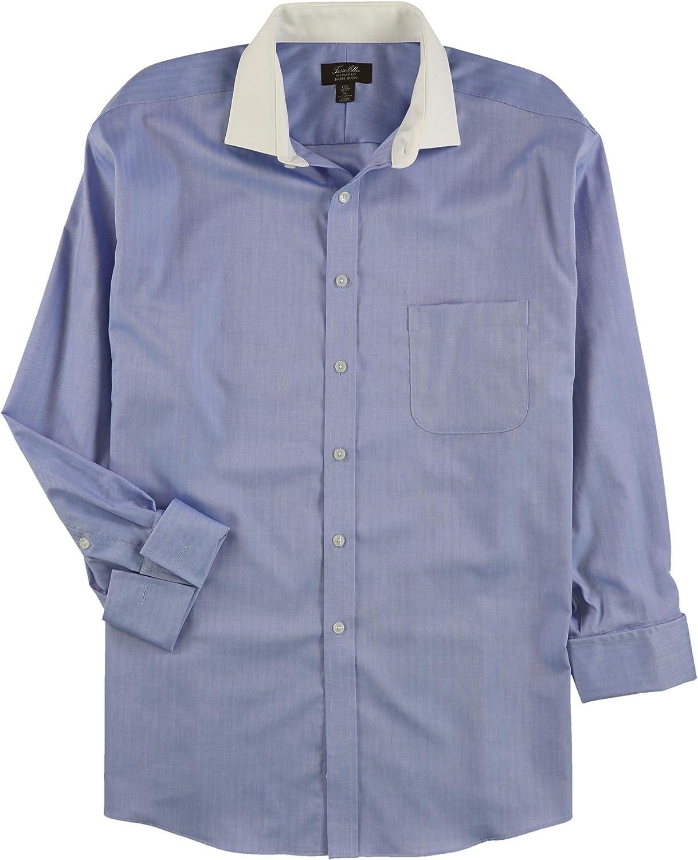 Tasso Elba Mens Herringbone Button Up Dress Shirt