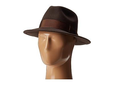 Country Gentleman Frederick Wide Brim Fedora Hat (Brown) Caps