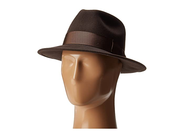 Country Gentleman Frederick Wide Brim Fedora Hat (Brown) Caps