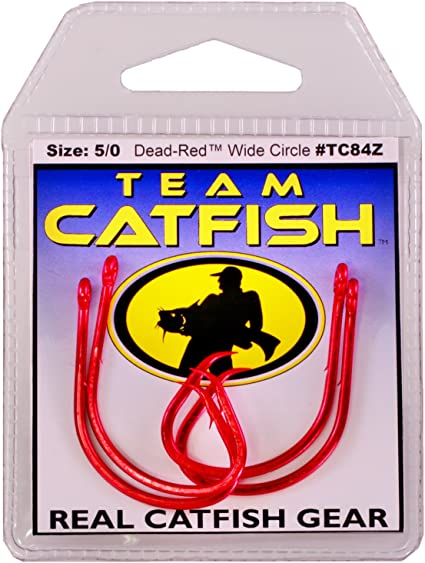 team catfish hooks real gear double action circle hook 5//0 tc84z red
