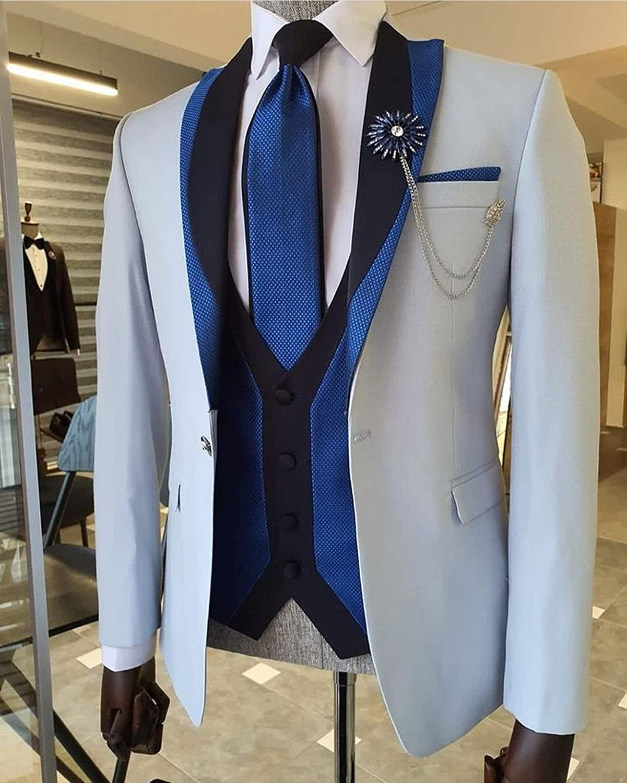 Outwear 2021 mejor traje de los hombres 3 piezas esmoquin chal solapa padrinos trajes de boda conjunto moda hombres negocios chaqueta ...