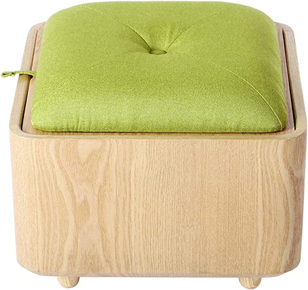 Creative Storage Ottoman Stool Multifunction Toy Box Solid Wood Sofa Foot Stool For Kids Adults Max Load 150KG Wood Color 40cmx40cmx33cm