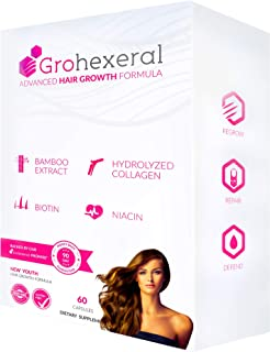 Grohexeral - Hair Growth & Regrowth Extra Strength Formula For Women - Longer, Stronger, Healthier Hair - Scientifically Formulated with Biotin, Niacin, Bamboo Extract, Hydrolyzed Collagen.