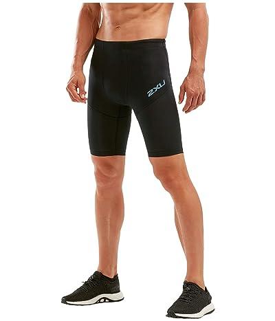 2XU Run Dash Compression Shorts (Black/Denim Reflective) Men