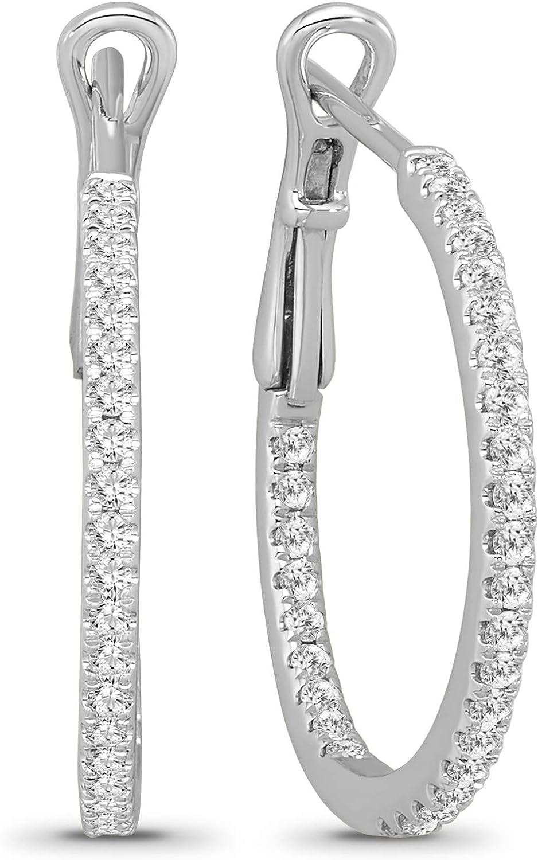10K White Gold Diamond Fashion Hoop Earrings (1/2 cttw, I-J Color, I2 Clarity)
