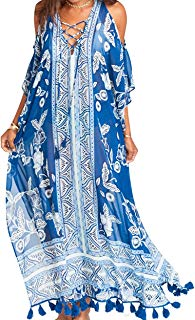 Women's Beach Long Dress Floral Swimsuit Cover up Casual Loungewear