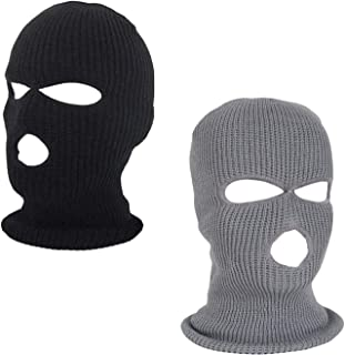 Sun-Trade 2pcs 3-Hole Ski Face Mask Balaclava,Full Face Mask for Winter Outdoor Sports, Black