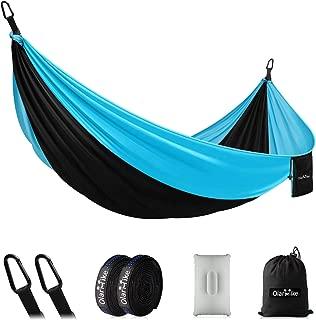 OlarHike Single Camping Hammock, Lightweight Portable Nylon Swing Hammocks with Tree Straps, 500lbs Capacity Hammock for Outdoor Indoor Backpacking Travel Beach Garden Yard