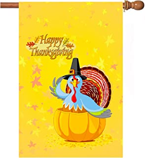 Thanksgiving Flags, 28 x 40 Inch Double-Sided Printing 3 Layer Thanksgiving House Flag Fall Thanksgiving Holiday Autumn Turkey Pumpkin House Flag For Holiday Seasonal Decoration