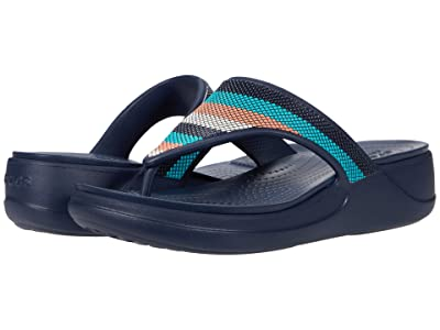 Crocs Monterey Bead Strap Wedge Flip (Navy/Multi) Women