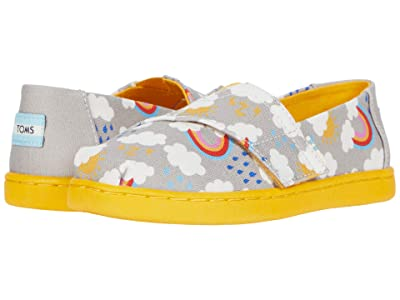 TOMS Kids Alpargata (Toddler/Little Kid) (Drizzle Grey Cloudy Day Print) Girl