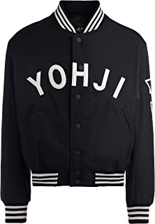 Y-3 Man's Yohji Letter Black Bomber with Felt Front Writing