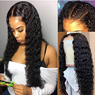 Brazilian Deep Wave Human Hair Lace Front Wigs Pre Plucked Lace Frontal Deep Curly Wigs 13x6 Lace Frontal Water Lace Wig for Black Women 100% Unprocessed Virgin Human Hair (20inch, Natural Color)