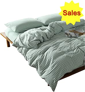 OTOB 3 Pieces Duvet Cover Set Cotton Bedding Sets Queen Bed Simple Green Plaid Chambray 1 Duvet Cover 2 Pillowcases Soft Comfortable Breathable Grid Checkered Pattern with Zipper Ties, Green White