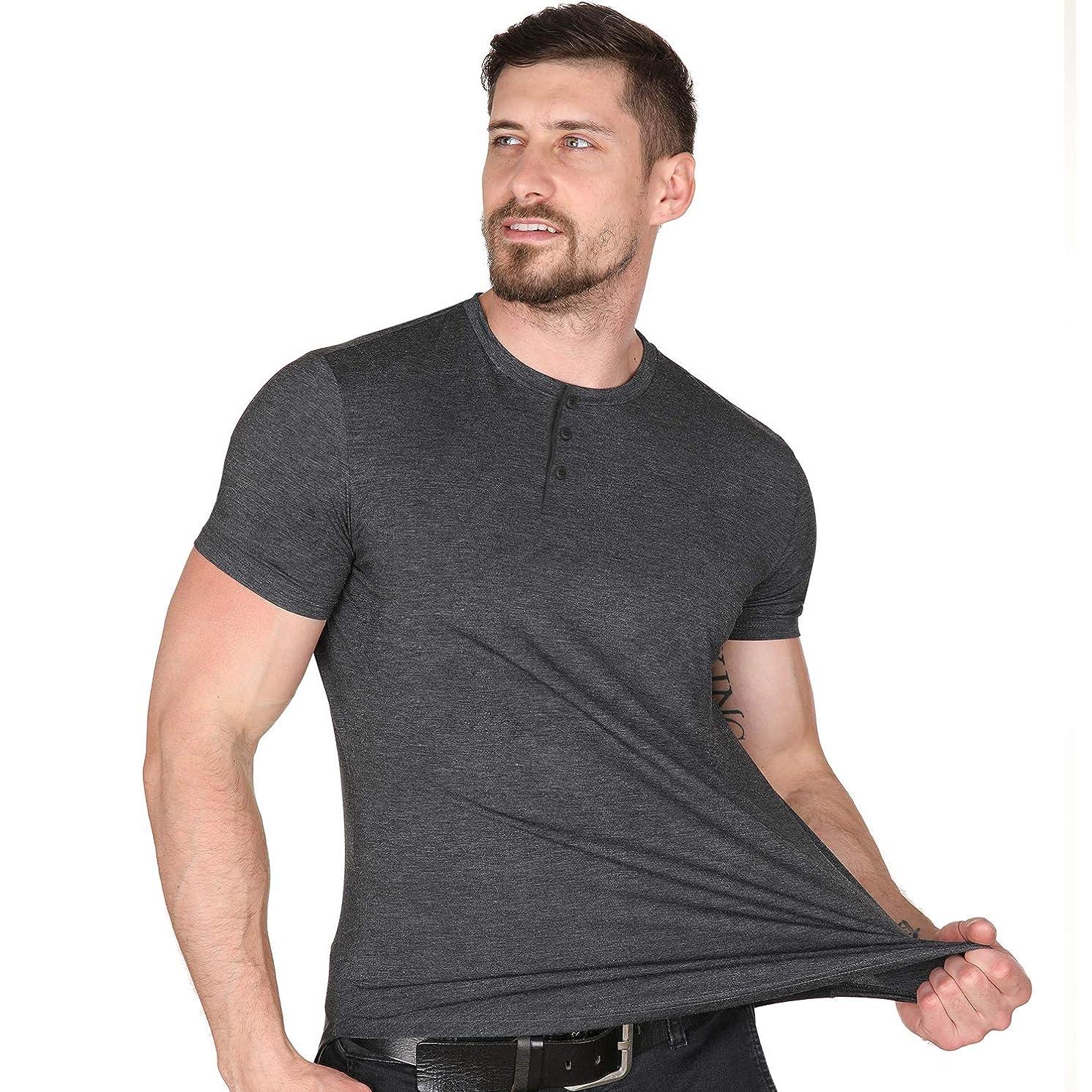 Men Casual Henley T Shirt Sexy V Neck Cotton Short Sleeve & Long Sleeve