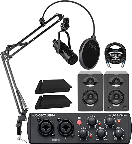 new arrival MXL BCD-1 Dynamic Podcast Microphone 2021 Bundle with PreSonus AudioBox USB 96 25th Anniversary Audio Interface, MediaOne M30 Monitors, lowest Blucoil Boom Arm Plus Pop Filter, 2x Isolation Pads and 10' XLR Cable sale