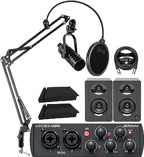 MXL BCD-1 ダイナミック ポッドキャスト マイク バンドル PreSonus AudioBox USB 96 25周年 オーディオインターフェース MediaOne M30モニター ブルーコイルブームアーム プラス ポップフィルター ア...