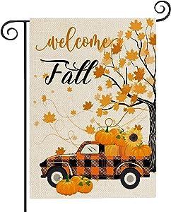 Fall Welcome Garden Flag Pumpkin Garden Flag 12.5X18 Inch Fall Yard Flags Seasonal Mini Autumn OutdoorThanksgiving Harvest Yard Outdoor Decor