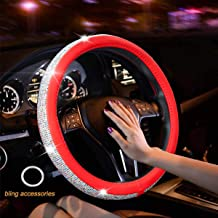 New Diamond Leather Steering Wheel Cover with Bling Bling Crystal Rhinestones, Universal Fit 15 Inch Anti-Slip Wheel Protector for Women Girls (Red Color Diamond)