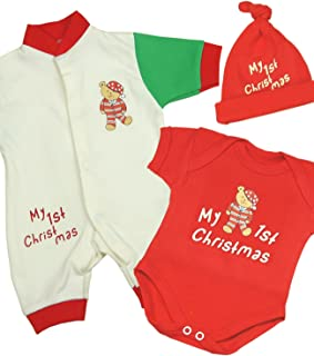 Preemie Baby Romper Creeper Hat Set My 1st Christmas Clothes Teddy