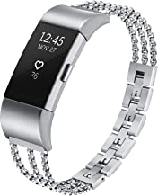 fastgo Compatible for Fitbit Charge 2 Band, Classy Stainless Steel Replacement Strap Sports Bracelet for Charge 2 Heart Ra...