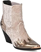 Cape Robbin Women Mixed Media Pointy Toe Flame Pattern Cowboy Bootie HJ88