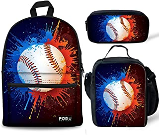FOR U DESIGNS School Backpack for Boys Baseball Bookbag Canvas Lightweight Lunch Bags Tote Pencil Case Set 3 Pce