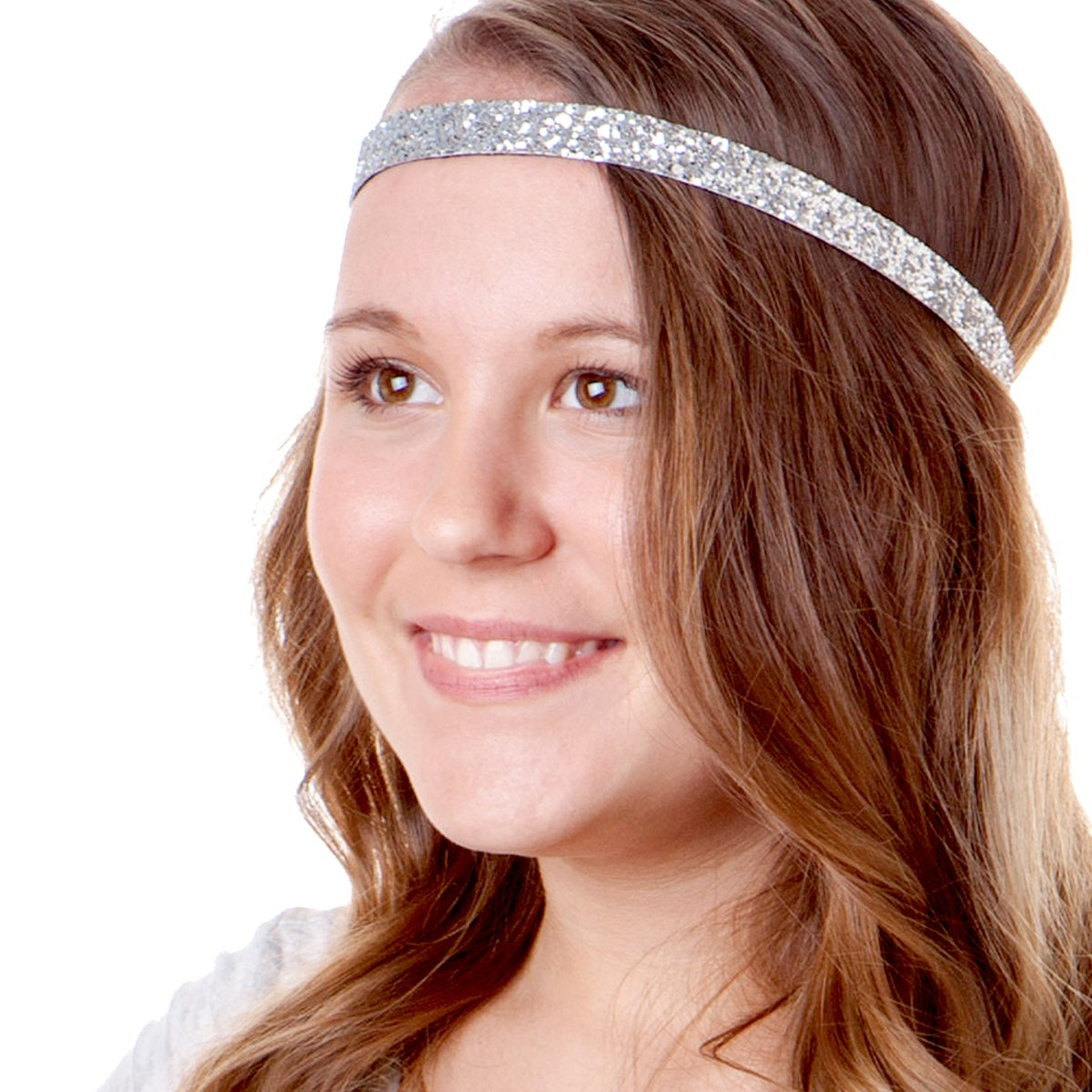 Hipsy Women's Adjustable NO SLIP Skinny Bling Glitter Headband Multi 3pk (Black/Gold/Silver)