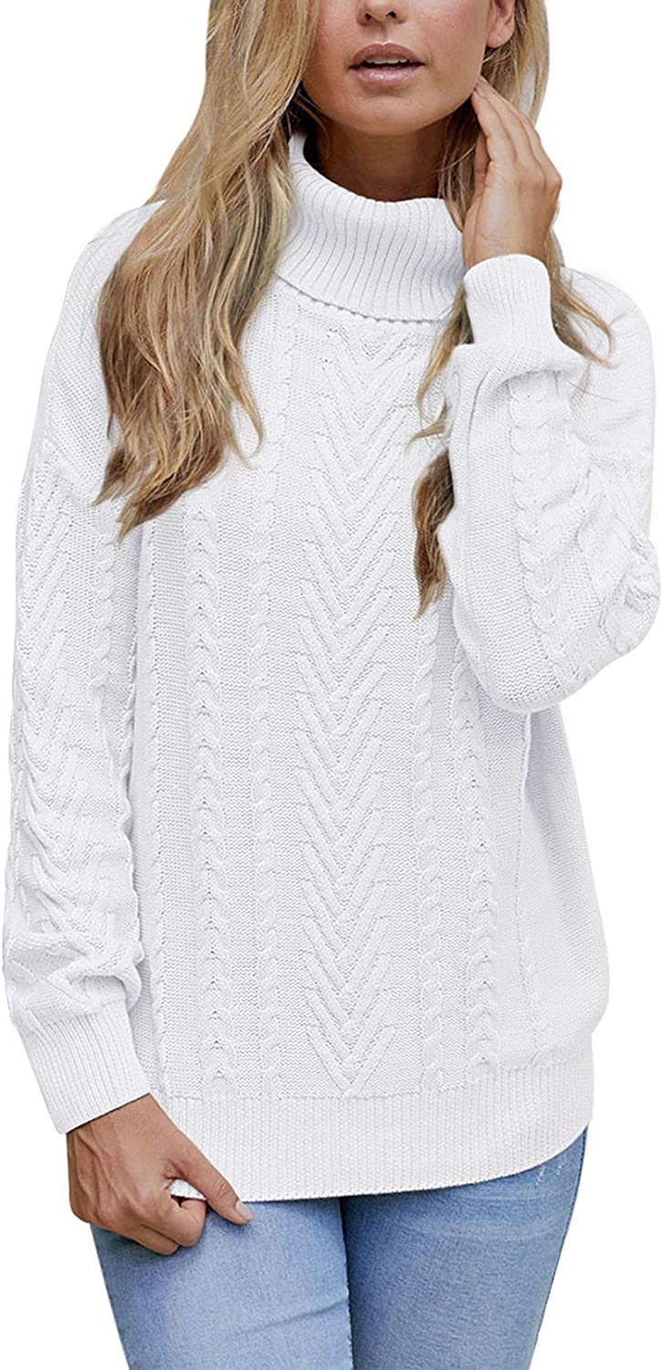 Pink Queen Women's Turtleneck New product!! Ribbed Max 68% OFF Pullover Knit Cable Chunky