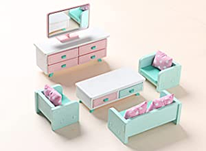 Z MAYABBO Wooden Dollhouse Furniture Set of Living Room, Miniature Dollhouse Accessories Doll House Furnishings with Couch, Table and Cabinet - 1/12 Scale