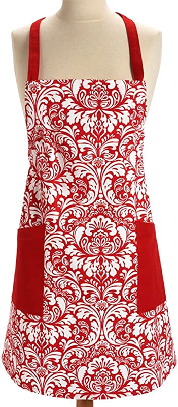 Fashion Red Canvas Palace Pattern Women Ladies Working Chefs Kitchen Cooking Apron With Pocket Red
