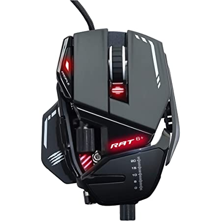Mad Catz MR05DCINBL000-0 RAT 8+ - Ratón (mano derecha, Óptico, USB, 16000 DPI, 16000 pps, Negro), rojo