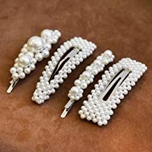 Cholet (Silver) Pearl Hair Clips, Fashion Hair Accessories for Women, Girls - 4pcs - Big Pearl Hair Pins Decorative - Barrettes for Styling, Party, Birthday, Bridal – Bobby, Alligator, Snap Clip