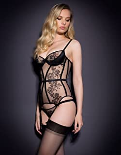 7b7578712 Dioni Tabbers-Agent Provocateur Black Sheer Lingerie with Black Stockings  Mid Photo 8 inch x