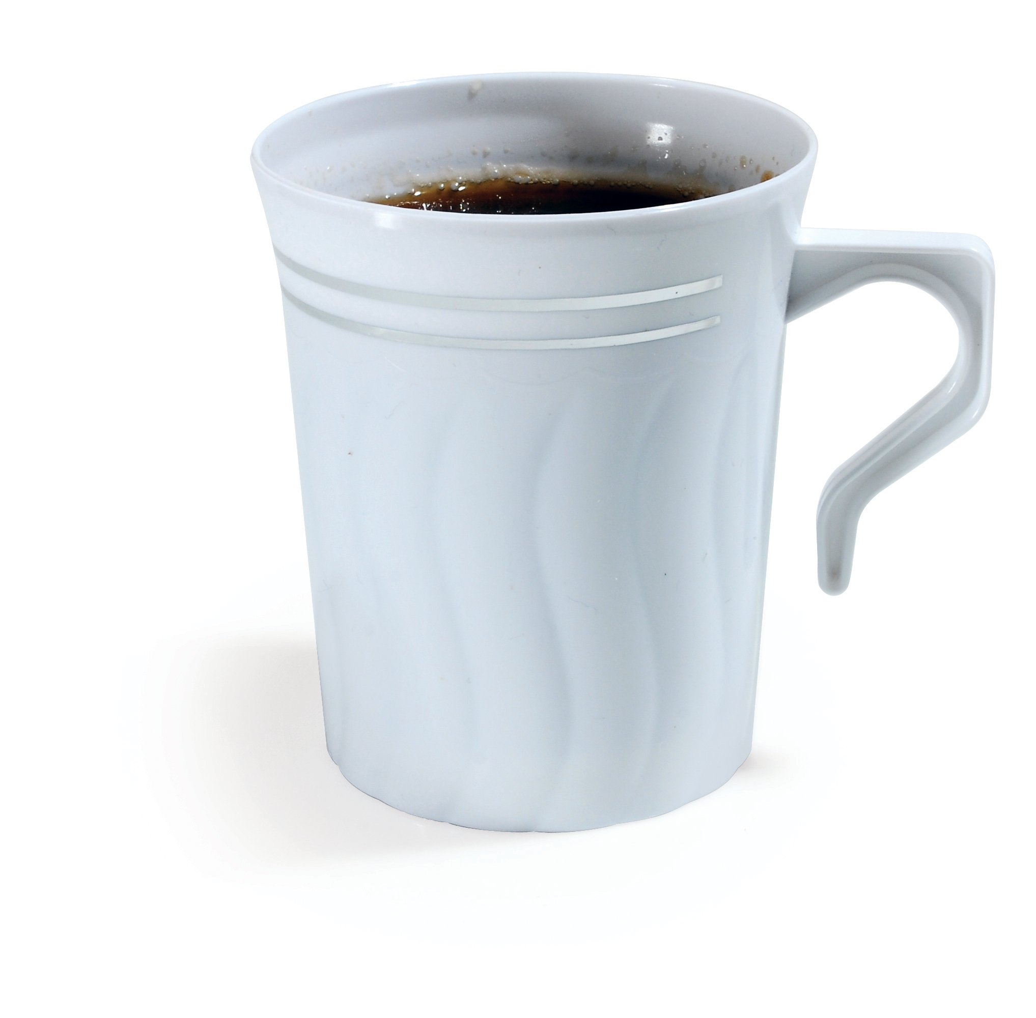 Flairware Collection Pack of 8 Drinkware | White 8 oz FineLine Settings Coffee Mugs