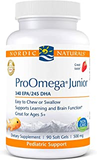 Nordic Naturals ProOmega Junior, Strawberry - 90 Mini Soft Gels - 680 Total Omega-3s with EPA & DHA - Supports Learning & ...