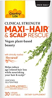 Country Life Maxi-Hair & Scalp Rescue - 30 Count - May Help Reduce Age-Related Hair Loss - Keranat - Hair & Scalp Support - Clinical Strength