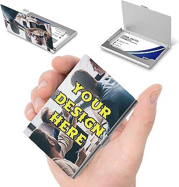 Custom Business Card Holder with Logo, Personalized Business Card Holder for Men and Women, Slim Pocket Aluminum Alloy Case,