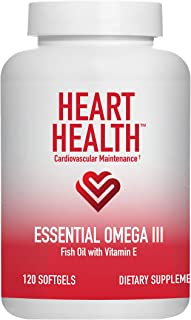Sponsored Ad - Heart Health Essential Omega III Fish Oil with Vitamin E, Helps Maintain Normal Cholesterol Levels, Healthy...