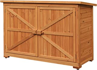 Leisure Zone Outdoor Wooden Storage Sheds Fir Wood Lockers with Workstation
